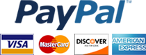 Credit cards accepted: PayPal, Visa, Mastercard, Discover, American Express